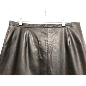 Vintage Skirts - Vtg Vegan Leather Midi Pencil Skirt Black Sz 14